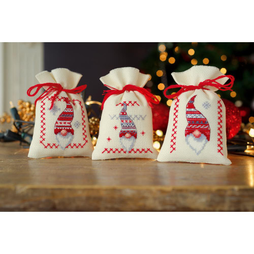 Vervaco Sachet Bags Counted Cross Stitch Kit - Christmas Gnomes