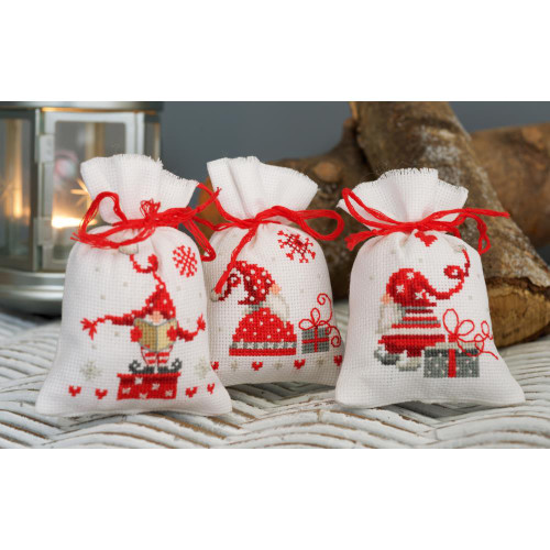 Vervaco Sachet Bags Counted Cross Stitch Kit - Xmas Gnomes