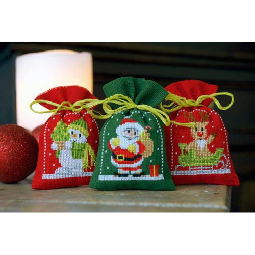 Vervaco Sachet Bags Counted Cross Stitch Kit - Christmas Figures