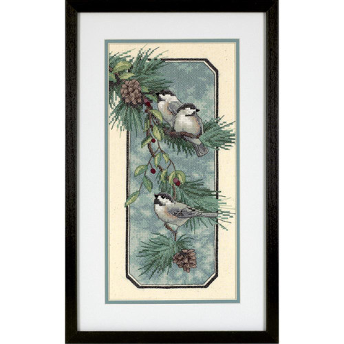 Dimensions Stamped Cross Stitch Kit - Chickadees On A Branch