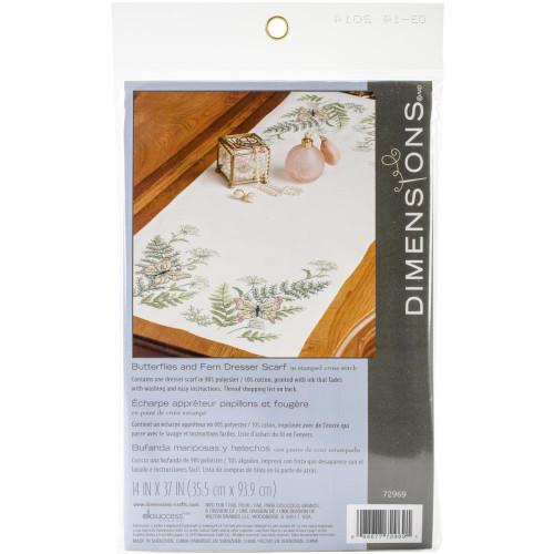 Dimensions Stamped Cross Stitch Kit - Butterflies & Fern