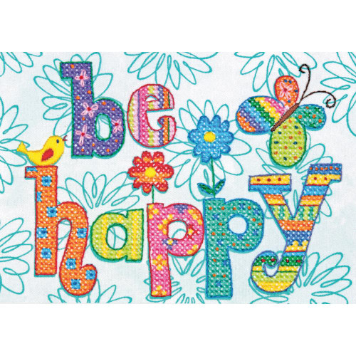 Dimensions Stamped Cross Stitch Kit - Be Happy