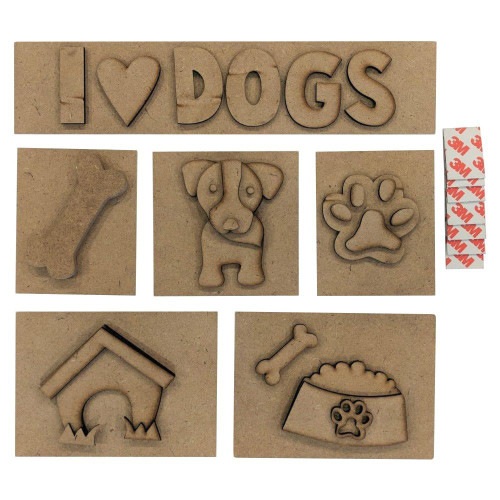 Foundations Decor Shadow Box Kit - I Love Dogs