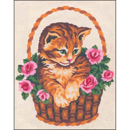 Collection D'Art Stamped Needlepoint Kit - Kitten In Rose Basket