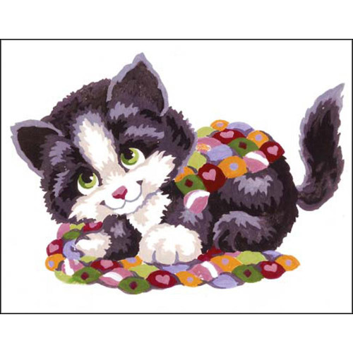 Collection D'Art Stamped Needlepoint Kit - Patchwork Kitten