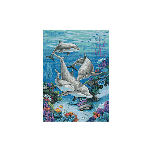 Dimensions Counted Cross Stitch Kit - Dolphin's Domain | Colorful Impressions