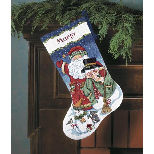 Dimensions Counted Cross Stitch Stocking Kit - Santa & Snowman