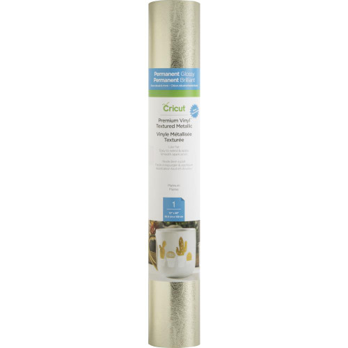 Cricut Premium Permanent Metallic Vinyl Roll - Textured Platinum