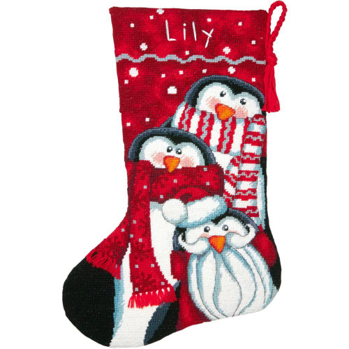 Dimensions Stocking Needlepoint Kit - Holiday Penguin Trio