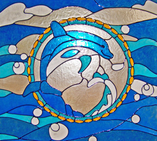 Dolphin Ocean Faux Stained Glass Window Film