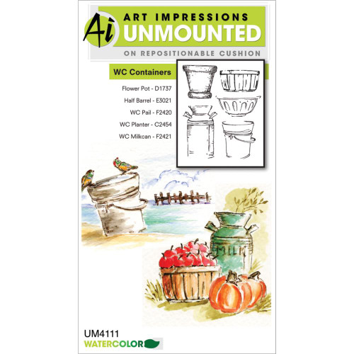 Art Impressions Unmounted Stamps - Watercolor Containers
