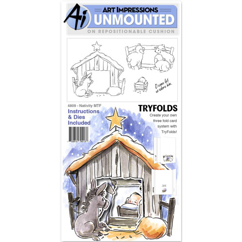 Art Impressions Mini TryFolds Unmounted Rubber Stamps - Nativity