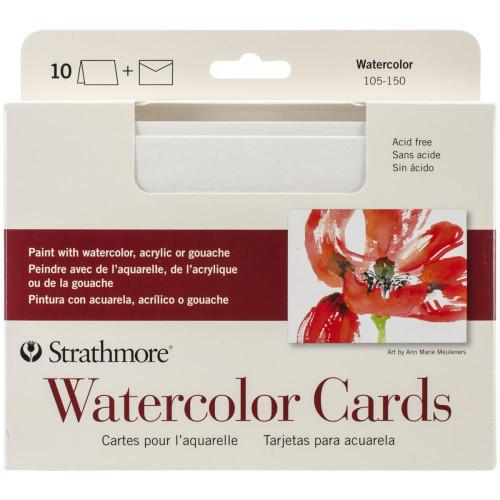 "Strathmore Cards & Envelopes 5""X6.875"" 10/Pkg - Watercolor"