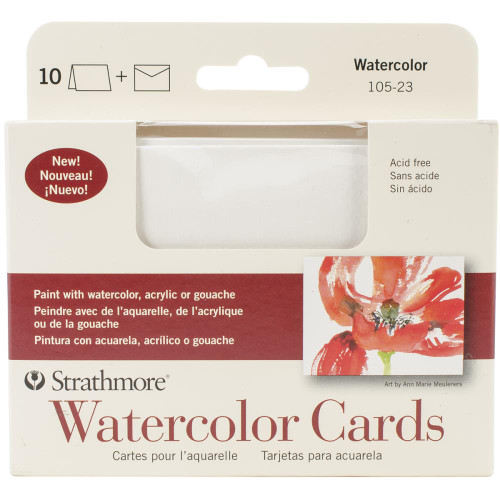 "Strathmore Cards & Envelopes 3.5""X4.875"" 10/Pkg - Watercolor"