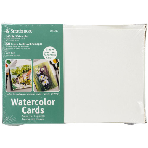 "Strathmore Cards & Envelopes 5""X6.875"" 50/Pkg - Watercolor"