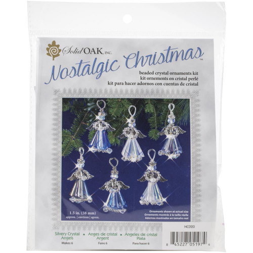 Nostalgic Christmas Beaded Crystal Ornament Kit - Silver Crystal Angels