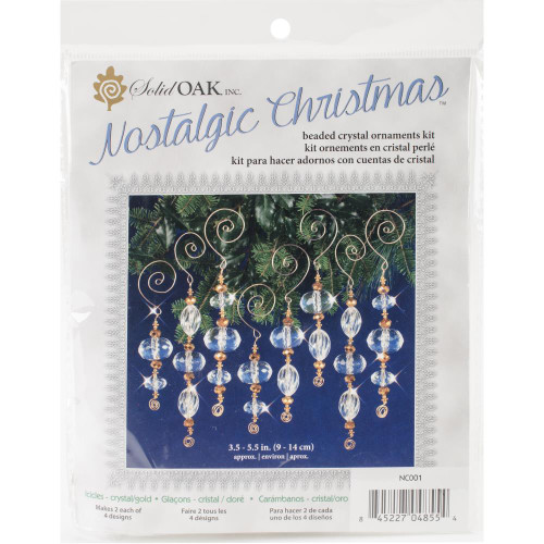 Nostalgic Christmas Beaded Crystal Ornament Kit - Gold & Crystal Icicles
