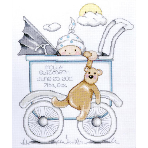 Tobin Counted Cross Stitch Kit - Baby Buggy Boy Birth Record