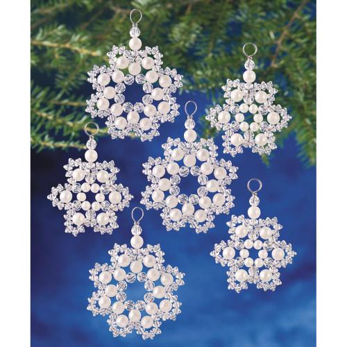Beadery Holiday Beaded Ornament Kit - Crystal & Pearl Snowflakes