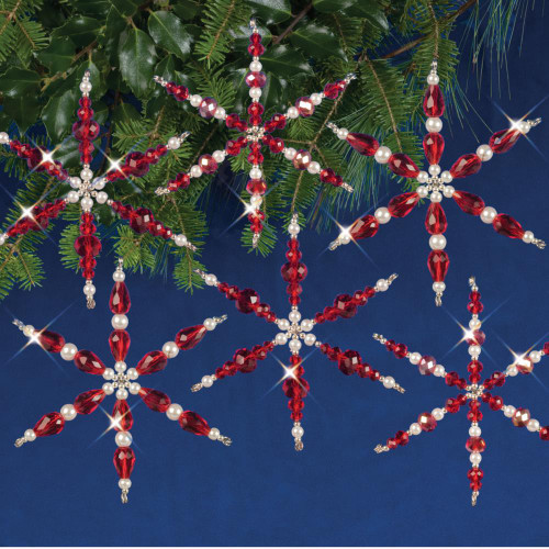 Nostalgic Christmas Beaded Crystal Ornament Kit - Ruby Snowflakes