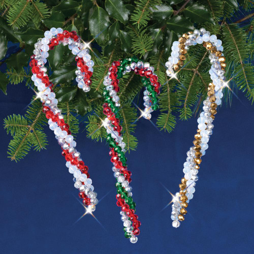Nostalgic Christmas Beaded Crystal Ornament Kit - Crystal Candy Canes