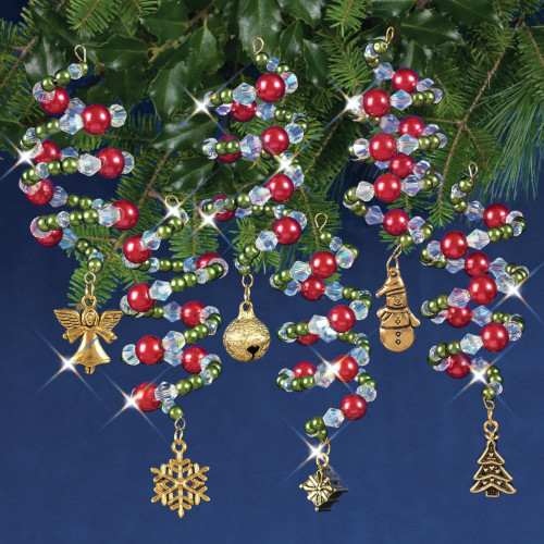 Nostalgic Christmas Beaded Crystal Ornament Kit - Ruby, Green & Gold Xmas Charmers