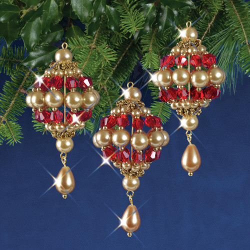 Nostalgic Christmas Beaded Crystal Ornament Kit - Ruby & Gold Baroque Drops