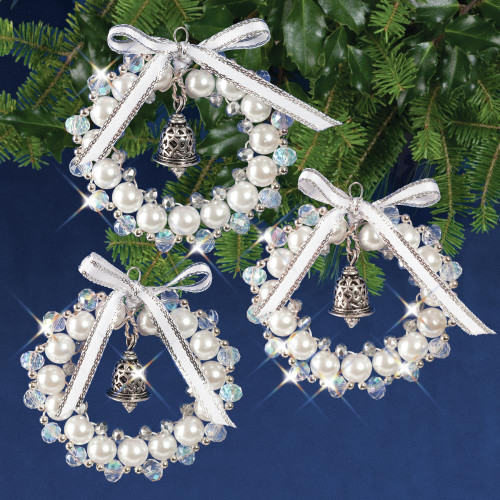 Nostalgic Christmas Beaded Crystal Ornament Kit - Crystal, White & Silver Bell Wreath