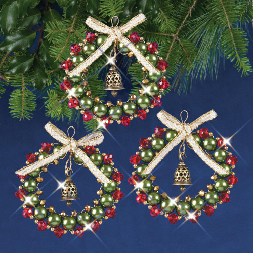 Nostalgic Christmas Beaded Crystal Ornament Kit - Ruby, Green & Silver Bell Wreaths