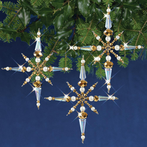 Nostalgic Christmas Beaded Crystal Ornament Kit - Crystal & Gold Christmas Stars