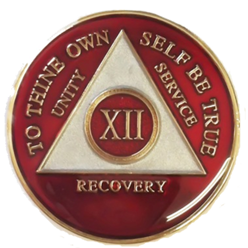 AA Tri-Plate Year Coin - Red/White
