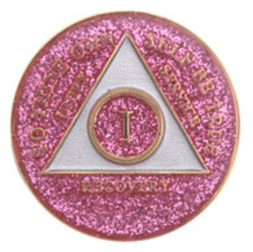 AA Tri-Plate Year Coin - Glitter Pink