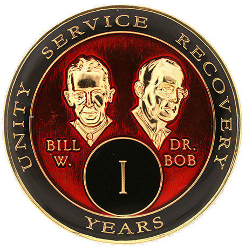 AA Tri-Plate Bill & Bob Year Coin - Red