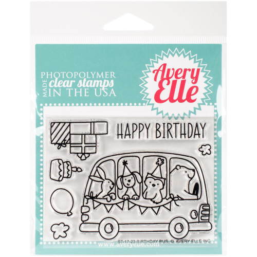 Avery Elle Clear Stamp Set - Birthday Bus