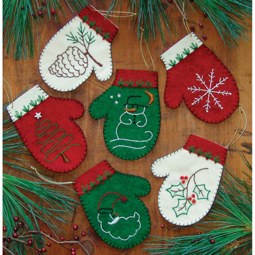 Rachel's Of Greenfield Felt Ornament Kit - Mittens