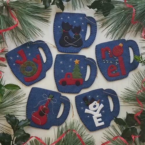 Rachel's Of Greenfield Felt Ornament Kit - Merry Mugs