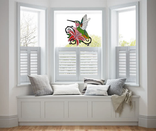 Ornate Faux Stained Glass Hummingbird Window Cling