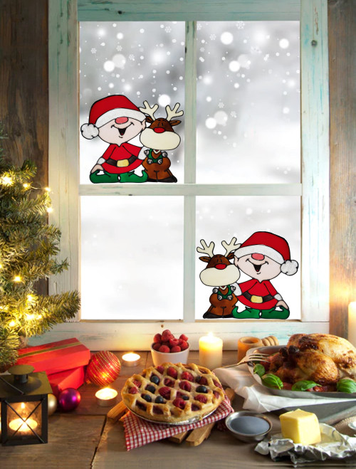 Reindeer & Elf Faux Stained Glass Window Cling