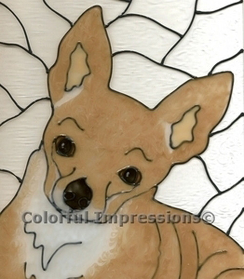 Faux Stained Glass Chihuahua Suncatcher