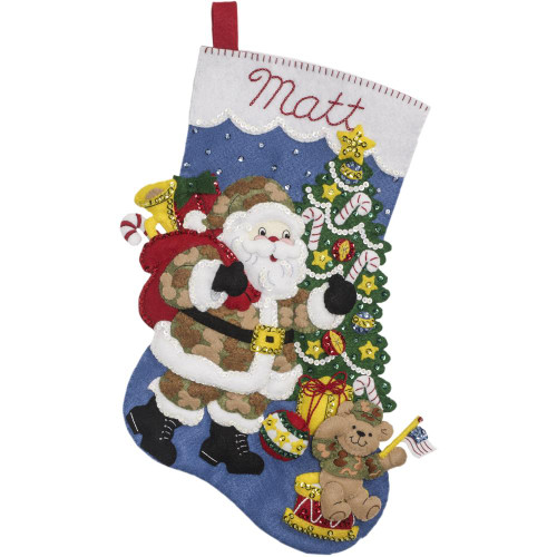 Bucilla Felt Applique Stocking Kit - Camo Santa
