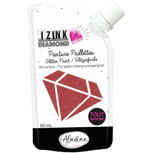 IZINK Diamond 24 Carats Glitter Paint 80ml - Red