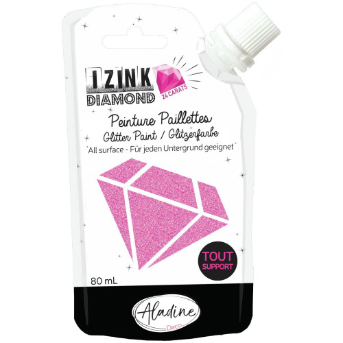 IZINK Diamond 24 Carats Glitter Paint 80ml - Pink