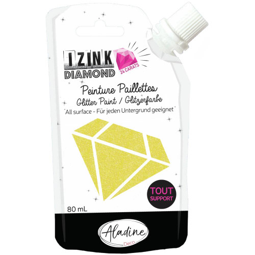 IZINK Diamond 24 Carats Glitter Paint 80ml - Yellow