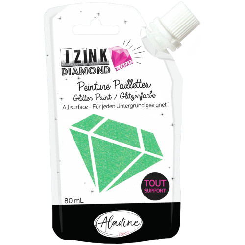 IZINK Diamond 24 Carats Glitter Paint 80ml - Green Pastel