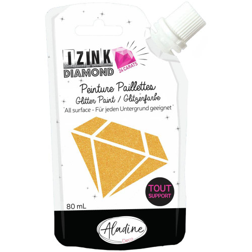 IZINK Diamond 24 Carats Glitter Paint 80ml - Orange