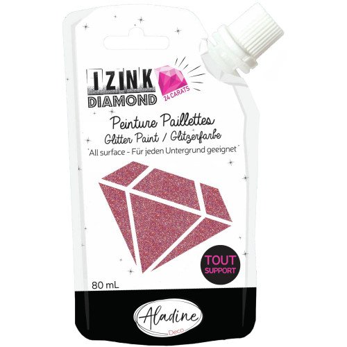 IZINK Diamond 24 Carats Glitter Paint 80ml - Dark Pink