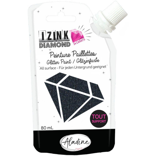 IZINK Diamond 24 Carats Glitter Paint 80ml - Black