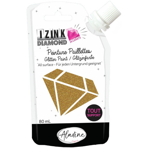 IZINK Diamond 24 Carats Glitter Paint 80ml - Gold