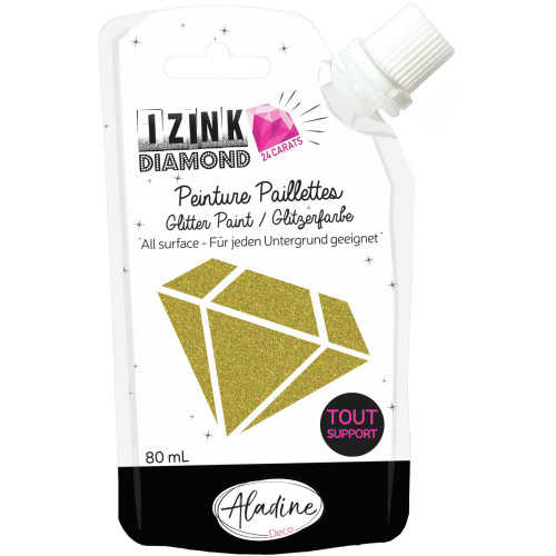 IZINK Diamond 24 Carats Glitter Paint 80ml - Light Gold