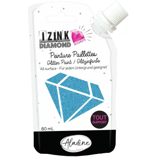 IZINK Diamond 24 Carats Glitter Paint 80ml - Blue